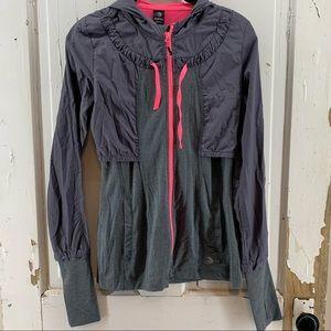 MPG Grey Athletic Jacket with Hood Pink Trim